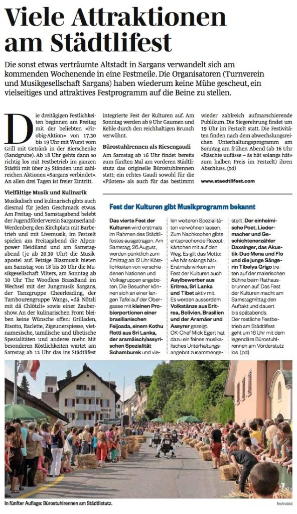 Zeitungsbericht Sarganserländer vom 22.8.17 – Sarganser Städtlifest